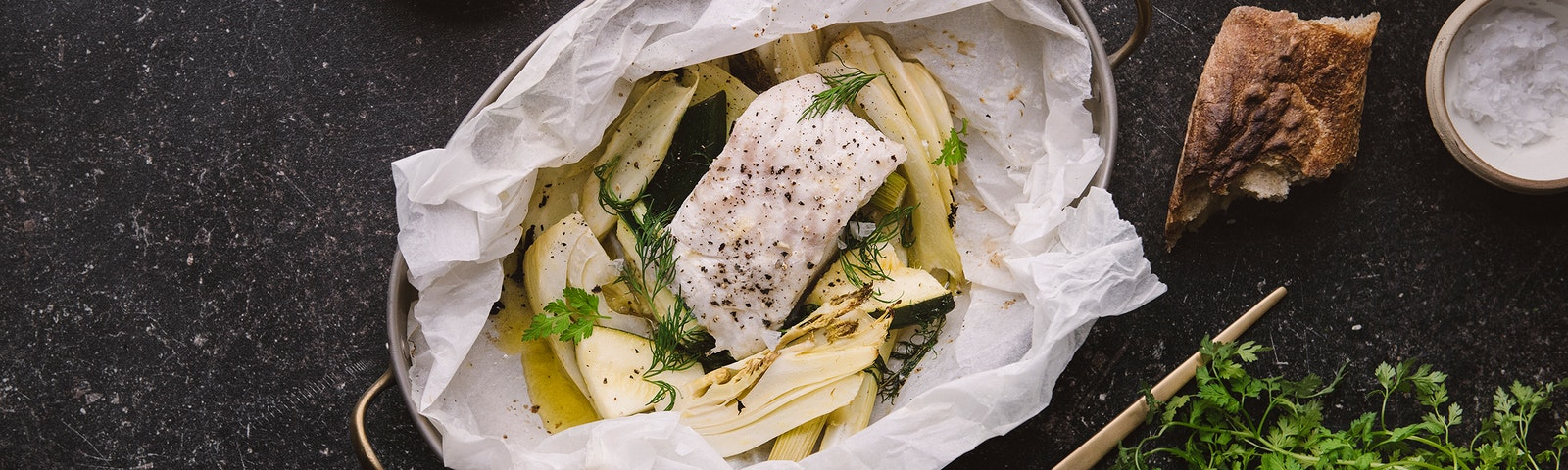Bakad torsk, grillad fänkål och dillmajonnäs