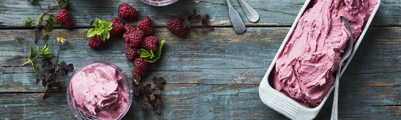 Hindbær-softice