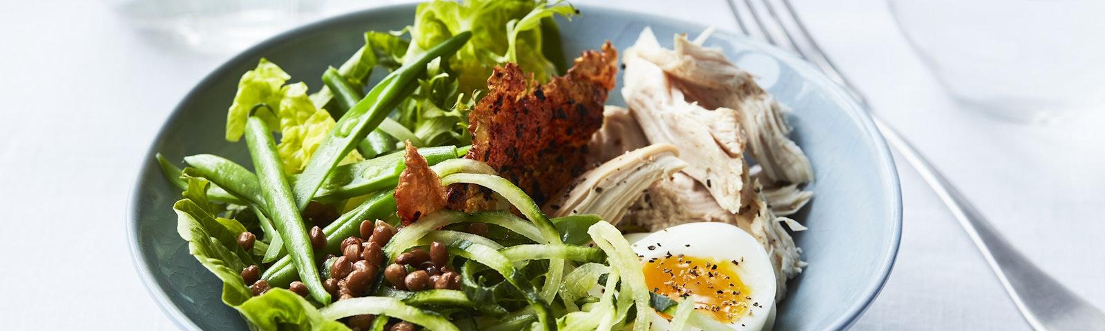 Salat bowl med kylling & æg
