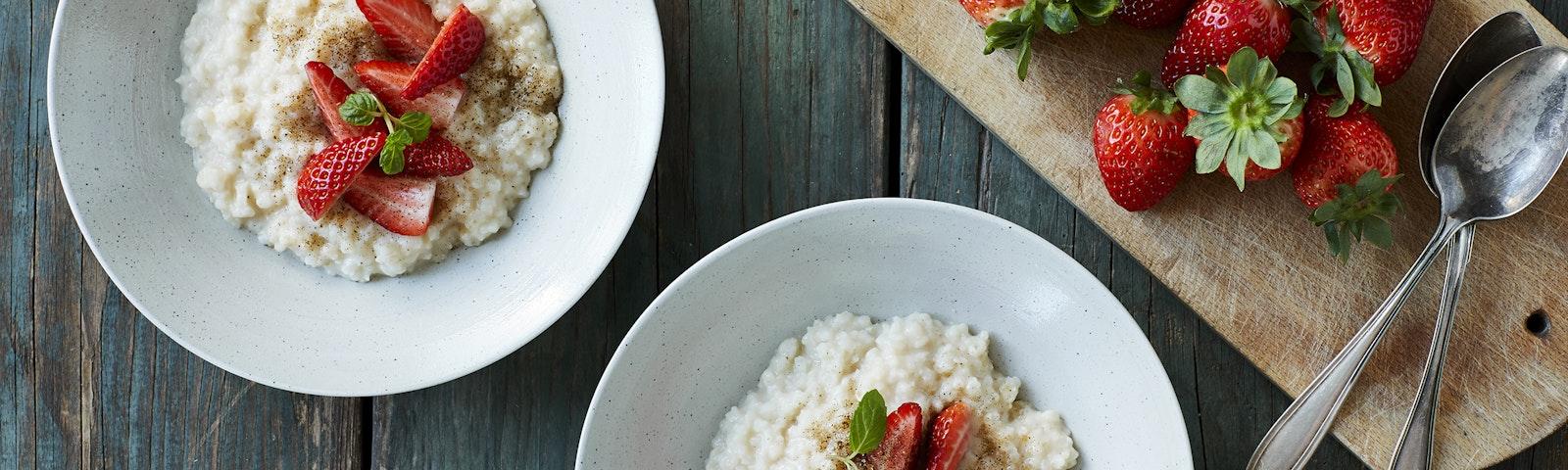 Kold risengrød med havredrik og vanilje