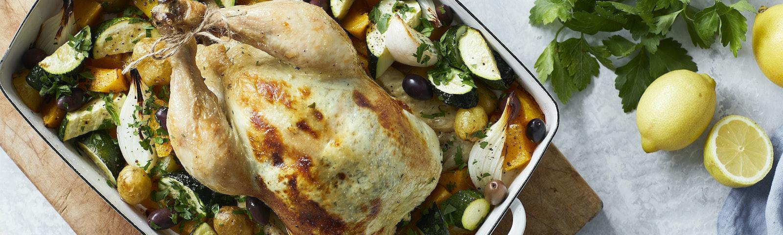 Hel kylling med flødeost, citron og persille
